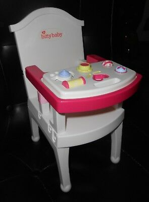 american girl high chair folding dorm retired bitty baby w toy tray excellent condition