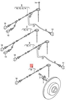 GENUINE VW CADDY Wiring Harness For Speed Sensor Rear