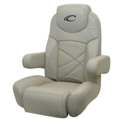 Captains Chair Cover For Pontoon Boat Modern Wingback Chairs Crest Helm Seat Recliner Bolster Gray Reclining Tear