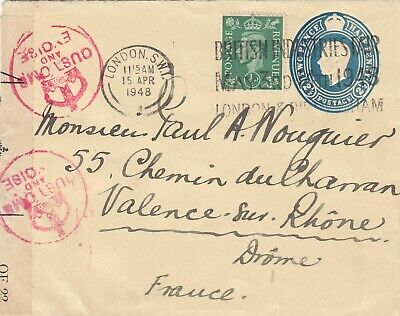 Embossed cover, KGV1 2½d rate plus ½d stamp posted from London to France 1918