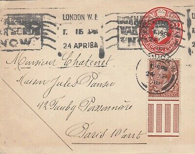Embossed cover, KGV 1d rate plus ¾d stamp posted from London to France 1918
