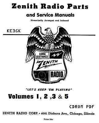 HUGE 1942 ZENITH Long Distance Radio SERVICE MANUAL CD