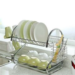 Kitchen Drying Rack Cabinets Wichita Ks Dish Cup Holder Sink Drainer 2 Tier Dryer Stainless Steel Us
