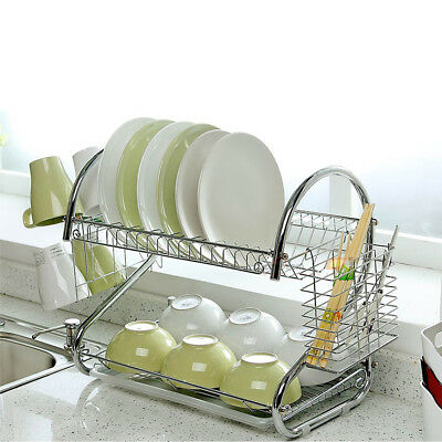 kitchen drying rack vintage posters for dish cup holder sink drainer 2 tier dryer stainless steel us