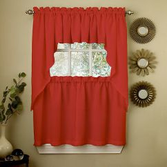 Swag Kitchen Curtains Outdoor Frame Kits Red Opaque Solid Ribcord Choice Of Tier Valance Or