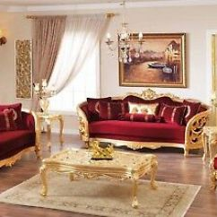 Luxury Living Room Furniture Sets Tv Table Monique Victorian Ruby Red Set Gold Mahogany Wood