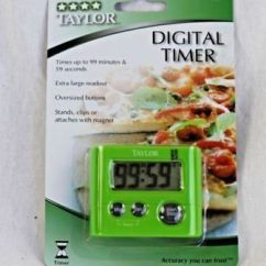 Taylor Kitchen Timer Grey Modern Cabinets Digital 5827gn Stopwatch With Clip And Magnet Green