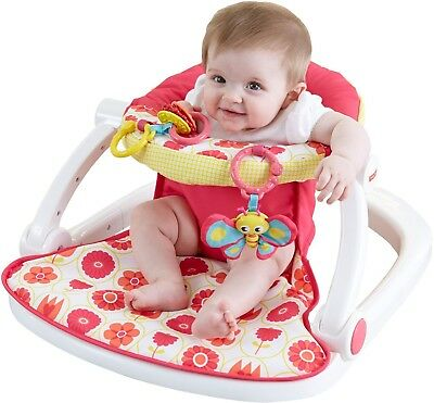 sit up chair for babies affordable dining room chairs indoor living seat floor me fisher baby portable deluxe pad pink