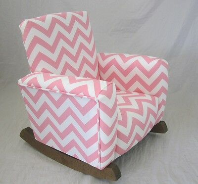 kids upholstered rocking chair desk retro new children s zig zag baby pink toddle rock for