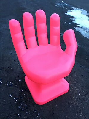 neon pink chair ergonomic large person giant hand shaped 32 adult 70 s retro eames icarly new
