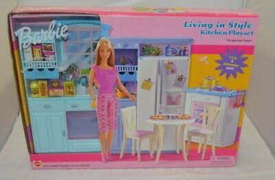 barbie kitchen playset small cabinets for 2002 living in style nrfb 44 99 picclick