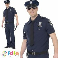CURVES NYC Cop Costume, XL, Adult Policeman Fancy Dress ...