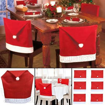 christmas chair back covers uk folding quad with canopy santa hat dining party xmas table decoration
