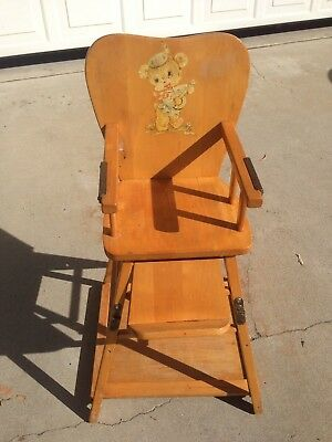 vintage wood high chair office discount solid little girl gardening usable convertible working table sturdy and baby line