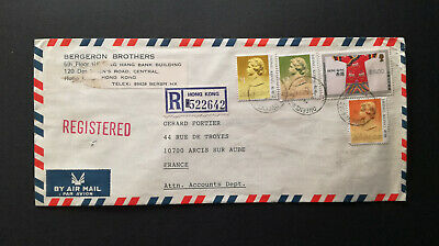 Hong Kong 1988 AIR COVER STAMP REGISTERED $ 8.50 / FRANCE ARCIS sur AUBE