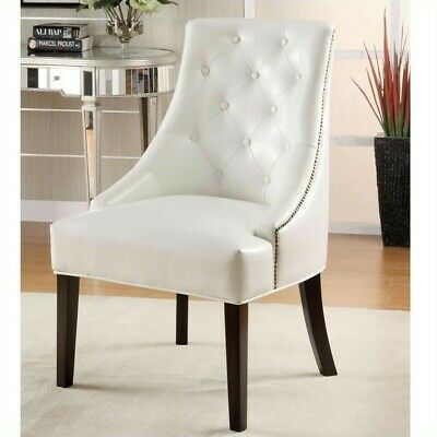 roundhill furniture wonda bonded leather accent chair with wood arms white sure fit covers coaster 177 50 picclick upholstered swayback tufted chairs in