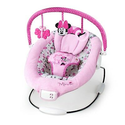 baby girl chair round fold up bouncer rocking rocker swing new born cradle minnie mouse