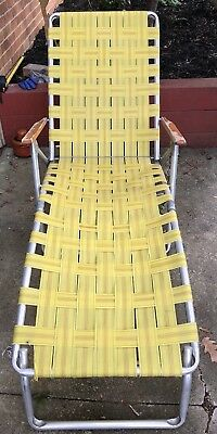 chaise lawn chair wicker swivel patio vintage aluminum folding webbed lounge yellowwood arms