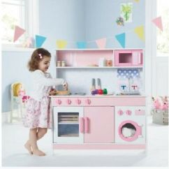Kids Wooden Kitchen Delta Faucet Spray Head Oven Cabinet Toy Play Set Pretend Cooking Gift Toys Pink