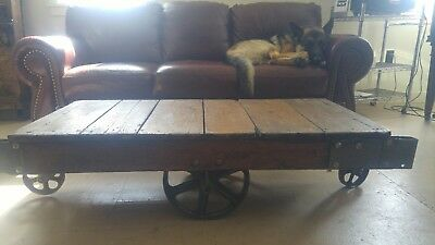 antique industrial cart coffee