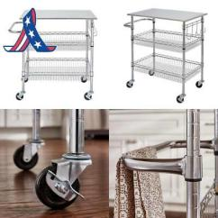 Large Kitchen Cart Gifts For Mom Gatefield Chrome Island With 2 Wire Basket Towel Stainless Steel Top
