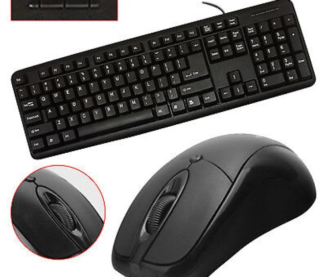 Usb Or Ps 2 Plug Wired Keyboard Mouse Set Office Work For Laptop Pc