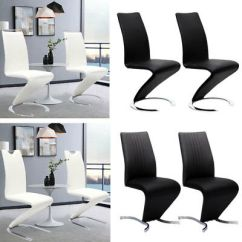 Z Shaped High Chair Most Expensive Lazy Boy 2x Modern Chairs Shape Design Leather Dining Living Room Chrome Pair Set Padded Back Seat Legs