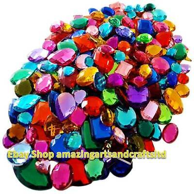 Mixed Acrylic Gemstones Gems Jewels Craft Embellishments Cards 100g 250g 1 95 Picclick Uk