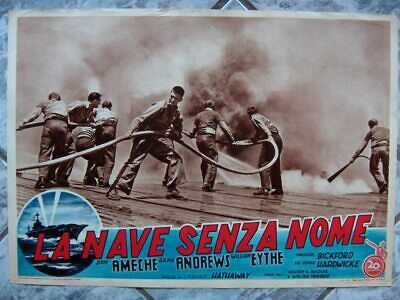 fotobusta 2 THE SHIP WITHOUT A NAME Wing and Prayer og Italy 1955 Fox lobby card