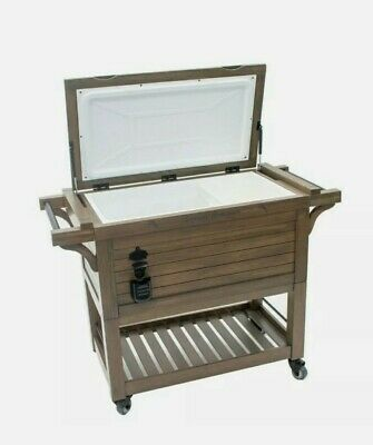 rolling wood cooler 100qt with cover
