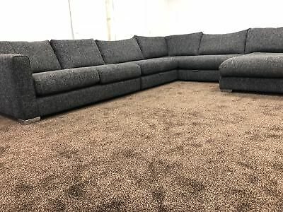 large dark grey corner sofa bob sofology majestic chaise fabric rrp 2499 99
