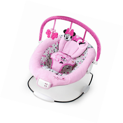 vibrating chair baby vermont company disney minnie mouse garden delights bouncer gear new