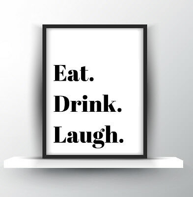 kitchen prints curtains inspirational quote poster print a4 wall decor eat drink laugh