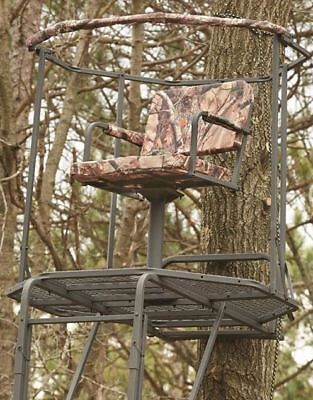 swivel chair tree stand white leather high back office hunting 18 ladder climbing archery deer game hunt rifle 360 climber 20 platform seat new