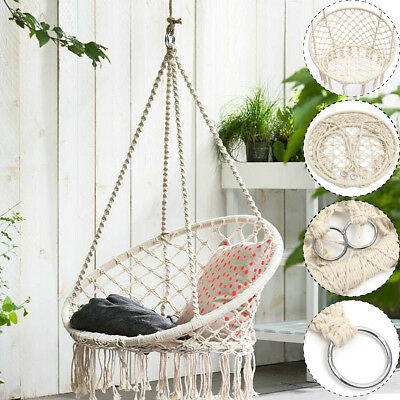 rope chair swing fishing and umbrella beige hanging cotton macrame hammock outdoor home garden 120kg