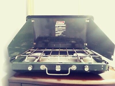 Vintage Coleman Propane Camp Stove 5400a700 2 Burner With Hose Untested