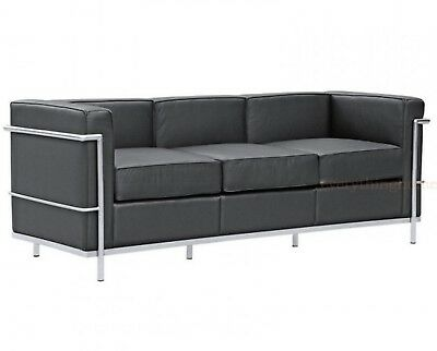 lc5 sofa price offers sri lanka high end le corbusier style 3 seater replica blaack mid century modern black leather stainless steel frame new