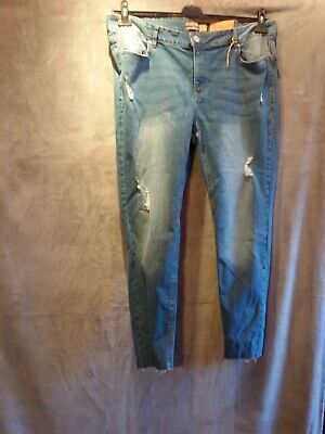 fashionable women's jeans, blue, stretch, large size 48