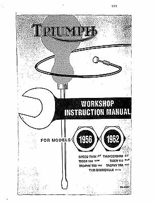 TRIUMPH WORKSHOP SERVICE manual 1961 & 1962 Bonneville
