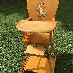 Vintage Wood High Chair Wedding Covers Or Not Light Wooden Baby Feeding Rare Table Combo