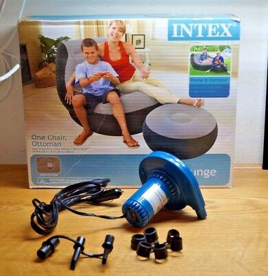 intex ultra lounge chair and ottoman kitchen accessories 2 pack inflatable w sofa dorm free 12v inflator deflator lot