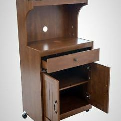 Kitchen Movable Cabinets Vent Duct Rolling Cart Cabinet Microwave Pots Storage Shelves Wood Stand Walnut Doors