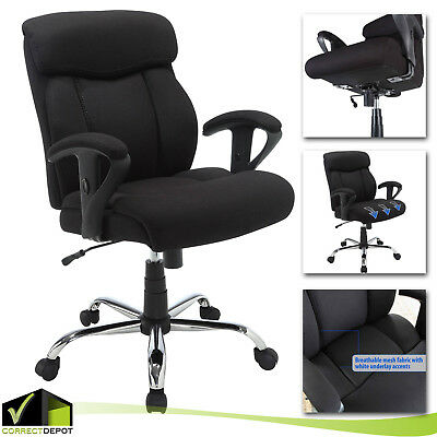 big and tall computer chair christmas covers diy manager black office mesh heavy duty seat back rest