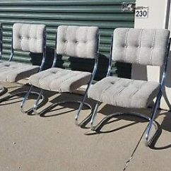 Retro Chrome Chairs Animal Print Parson Chair Slipcovers 4 Vintage Mcm Cantilever Chromcraft Kitchen Dining Hollywood