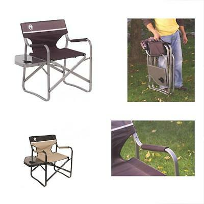 coleman portable deck chair that turns into twin bed with side table camping hiking outdoor
