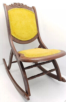 folding rocking chair wood black swivel office with arms antique victorian style rocker 100 00