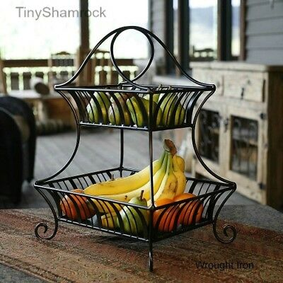 fruit basket for kitchen semi custom cabinets reviews wrought iron 2 tier bowl large centerpiece decorative new 48 52 picclick