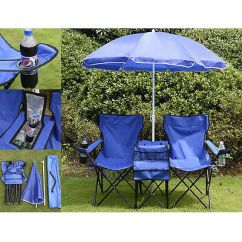Folding Chair With Umbrella Gold Damask Covers Picnic Double Table Cooler Fold Up Beach