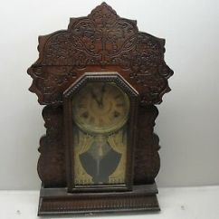 Gilbert Kitchen Clock Window Pass Through Antique Oak Navy No 27 Company Winsted Ct