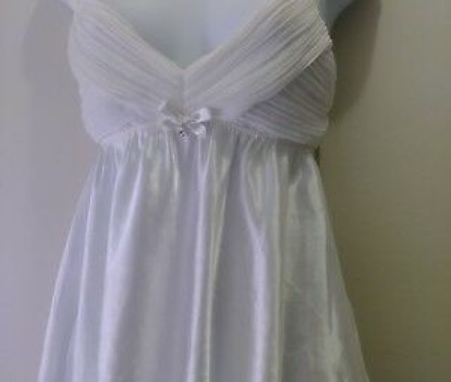 Flora Satin Sheer Nightgown Babydoll White Pleat Wide Shoulder Strap Women Small